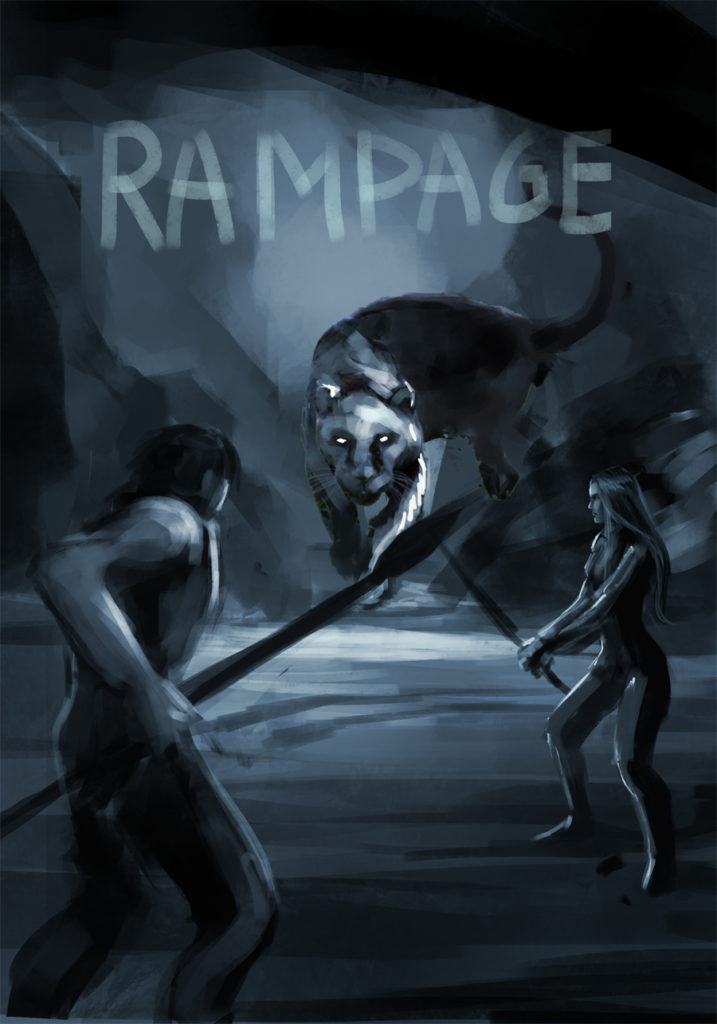 "Sketch of the book cover ""Rampage"""