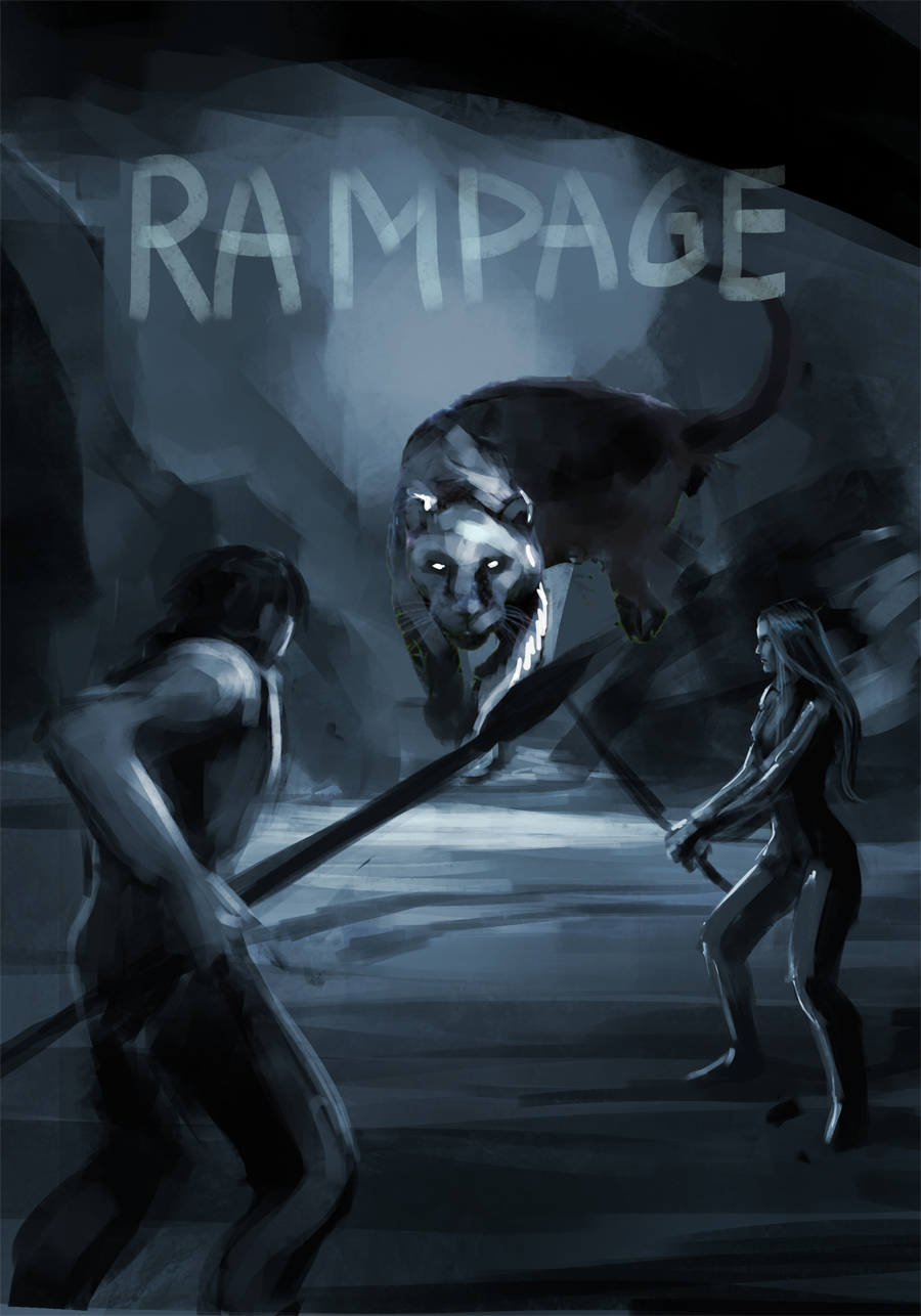 """Sketch of the book cover """"Rampage"""""""