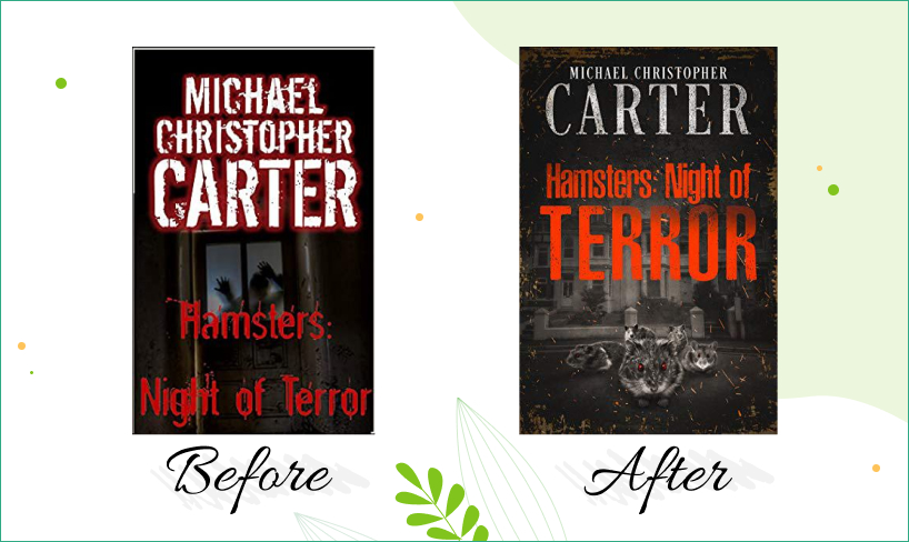 hamster's night of terror book cover design before after
