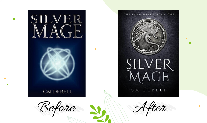 silver mage book cover design before after