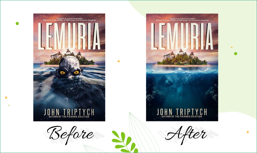 Lemuria book cover design before after