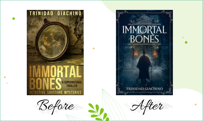immortal bones book cover design before after