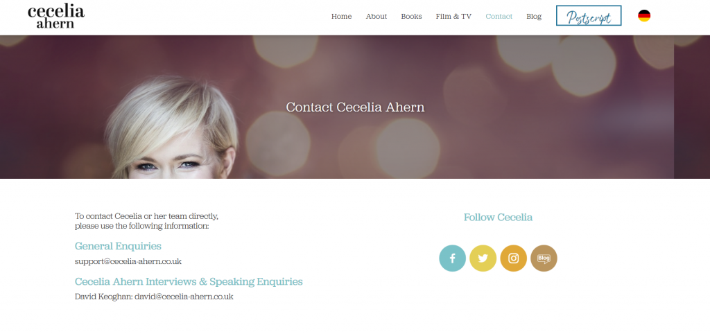 author website contacts
