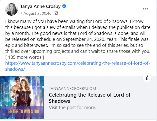 facebook author page tanya anne crosby