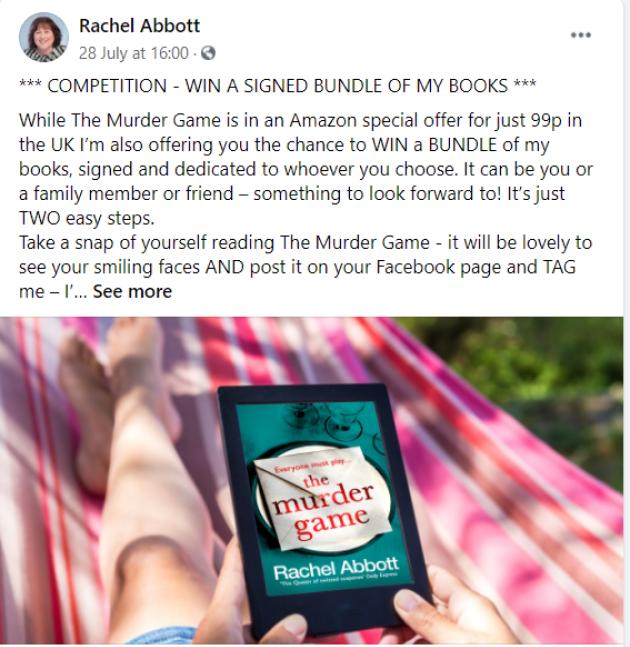 rachel abbott book competition facebook author page
