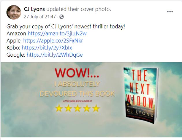 cj lyons book marketing facebook author