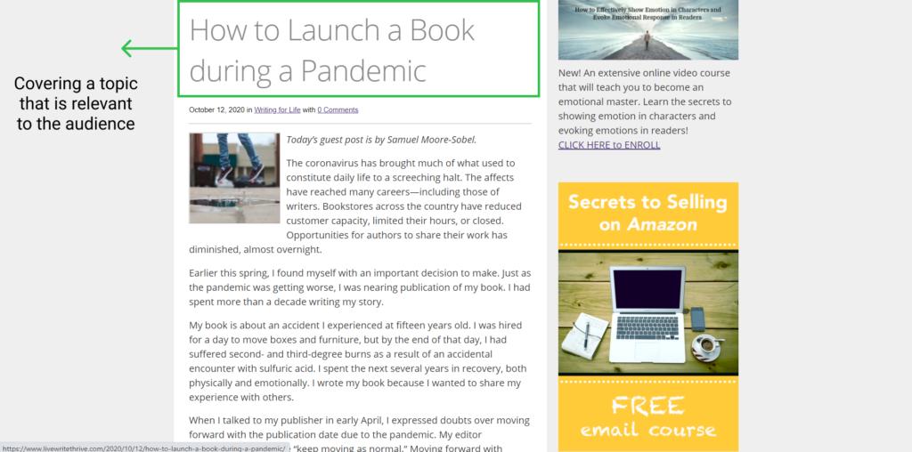 author blog ideas live write thrive