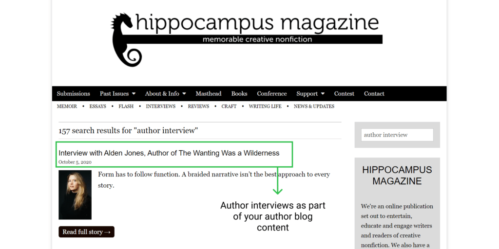author interview example