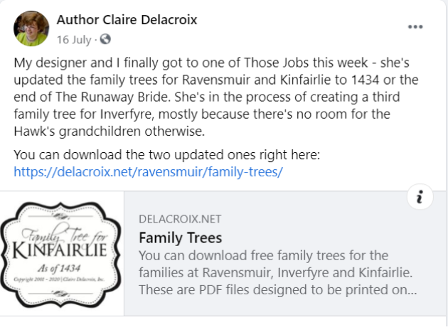 Claire Delacroix book marketing