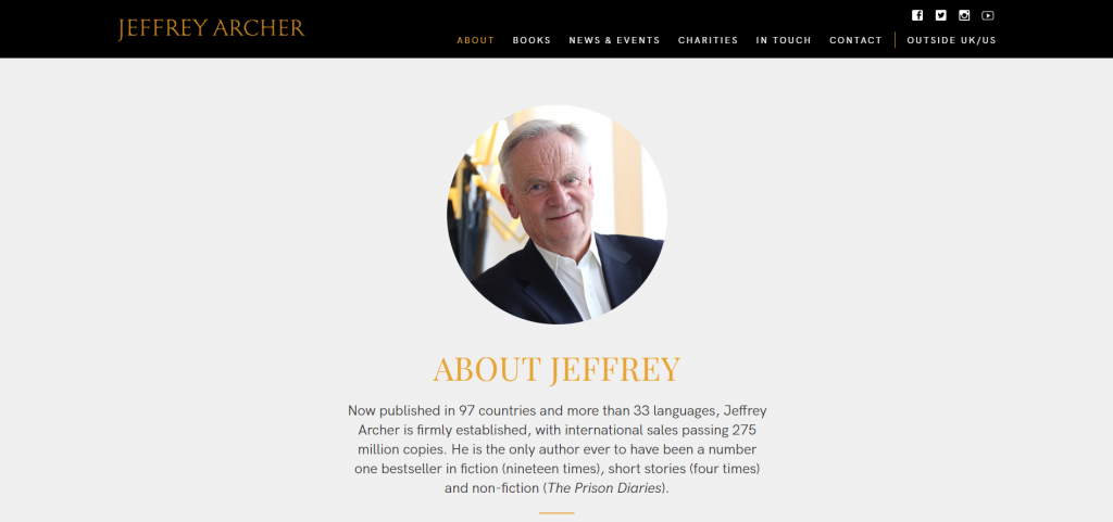 author website about page