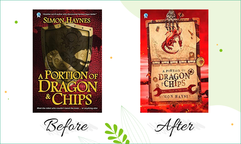 a portion of dragon and chips book cover before after