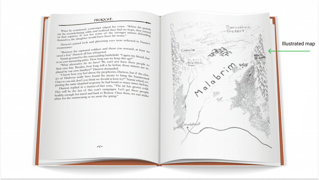 book layout illustrations
