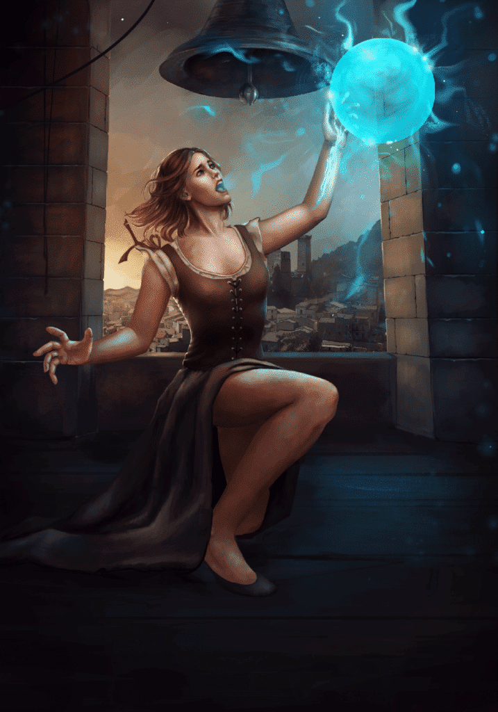 An llustrated girl with a lightball