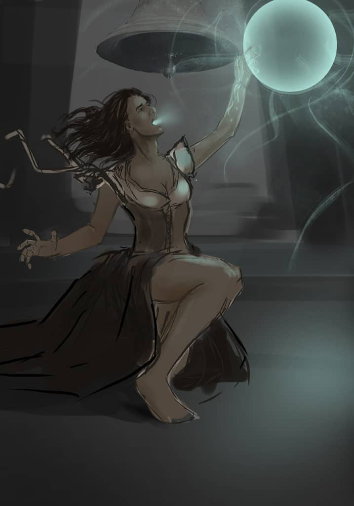 Sketch of a girl with a ball