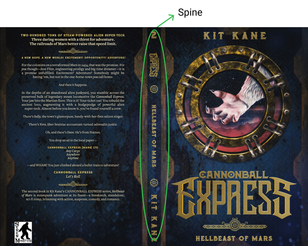 Spine book cover design on the example of Cannonball express book cover