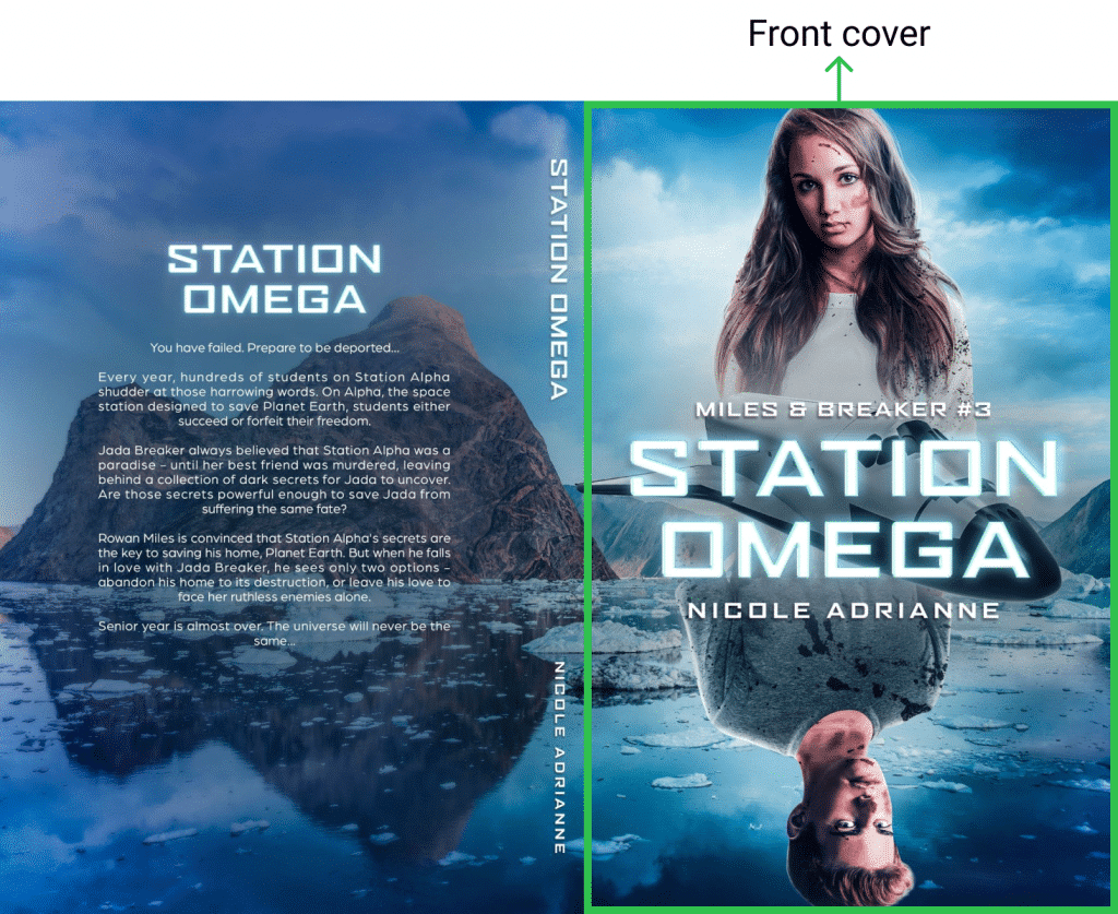 Front book cover design on the example of Station Omega