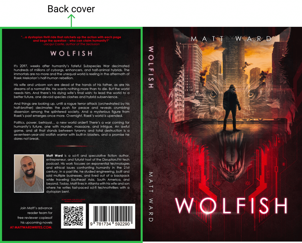 Back book cover design on the example of Wolfish