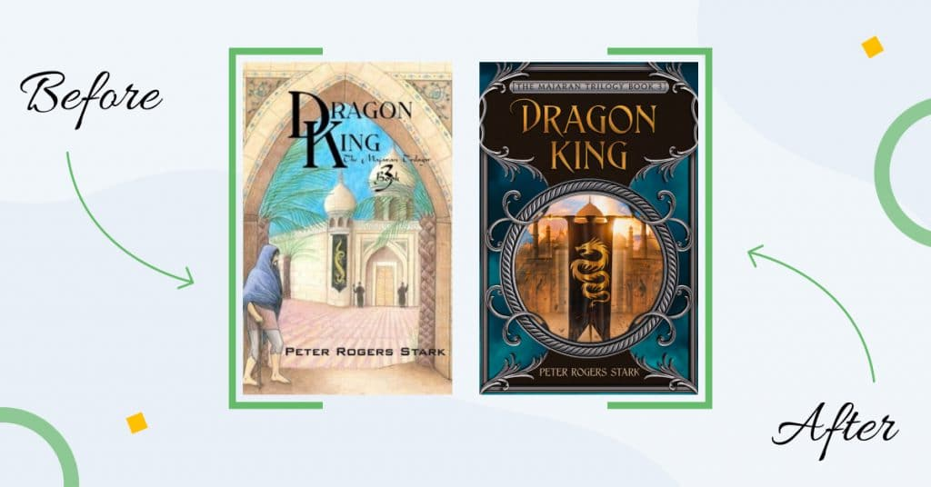 book cover typography before after