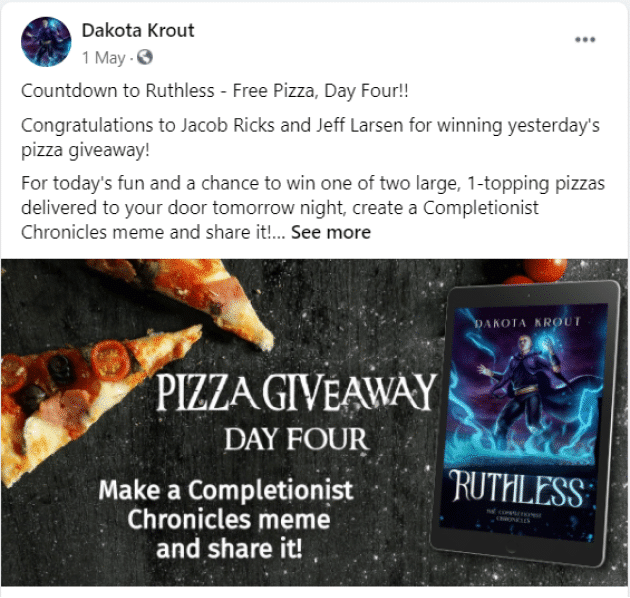 pizza giveaway dakota krout facebook author page