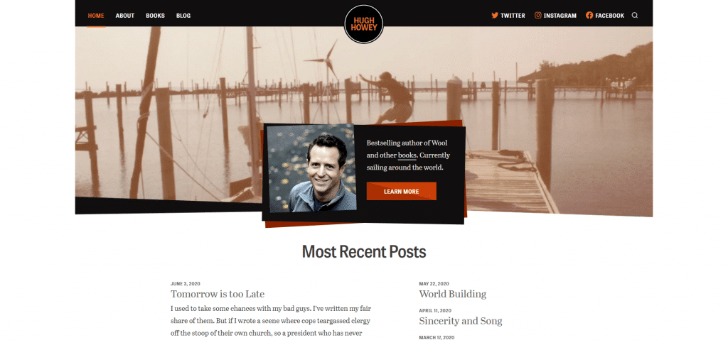 author website elements navigation