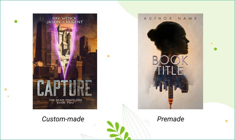 Example of custom and premade book cover design