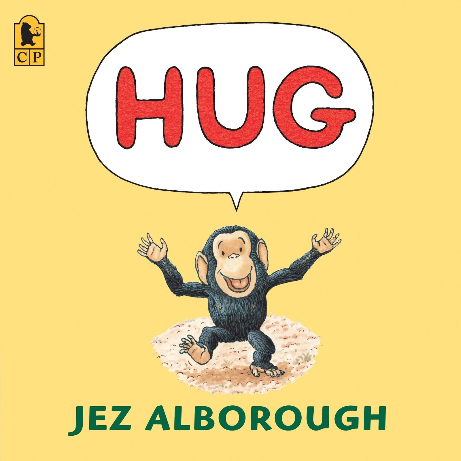 Hug by Jez Alborough as an example of children's book cover design fro kids over 12