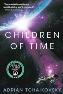 Altered Children of Time book cover with the green color changed to purple color