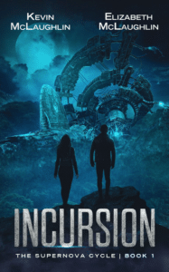 Color use in sci fi book cover design on the eample of Incursion book