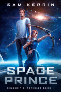 Illustrated sci fi book cover example Space Prince by Sam Kerrin