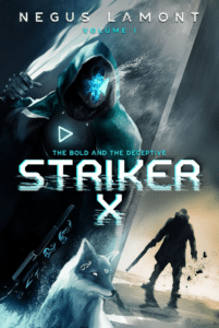 Illustrated sci fi book cover example Striker by Negus Lamont