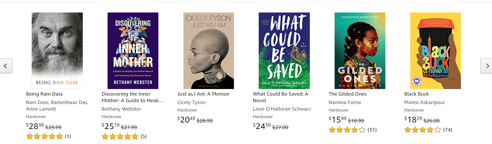 Amazon book cover thumbnails example